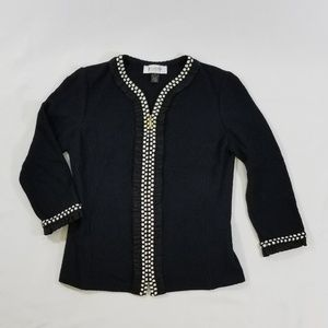 St Johns Collection Knit Tweed Zip Jacket Blazer